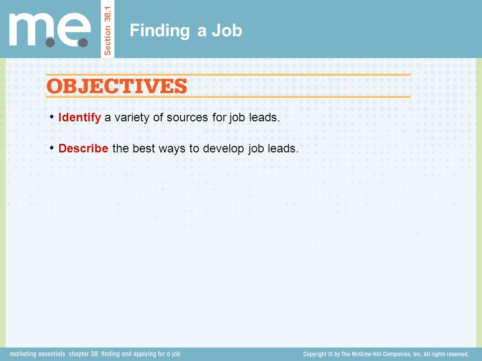 Finding a Job Identify a variety of sources for job leads.