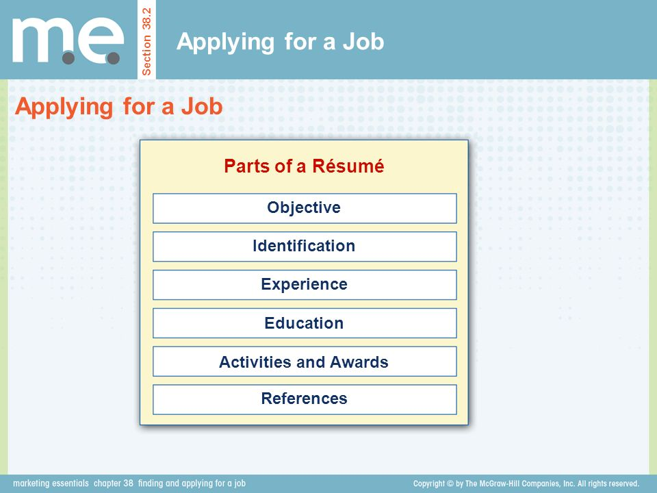 Applying for a Job Applying for a Job Parts of a Résumé Objective