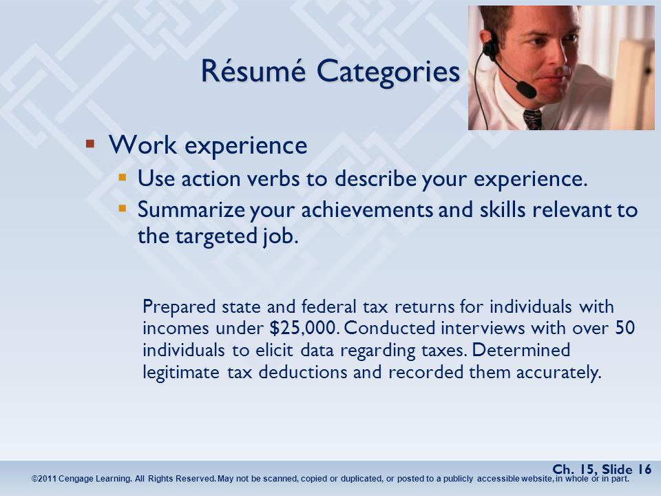 16 rsum categories work experience use action verbs to describe your experience summarize your achievements