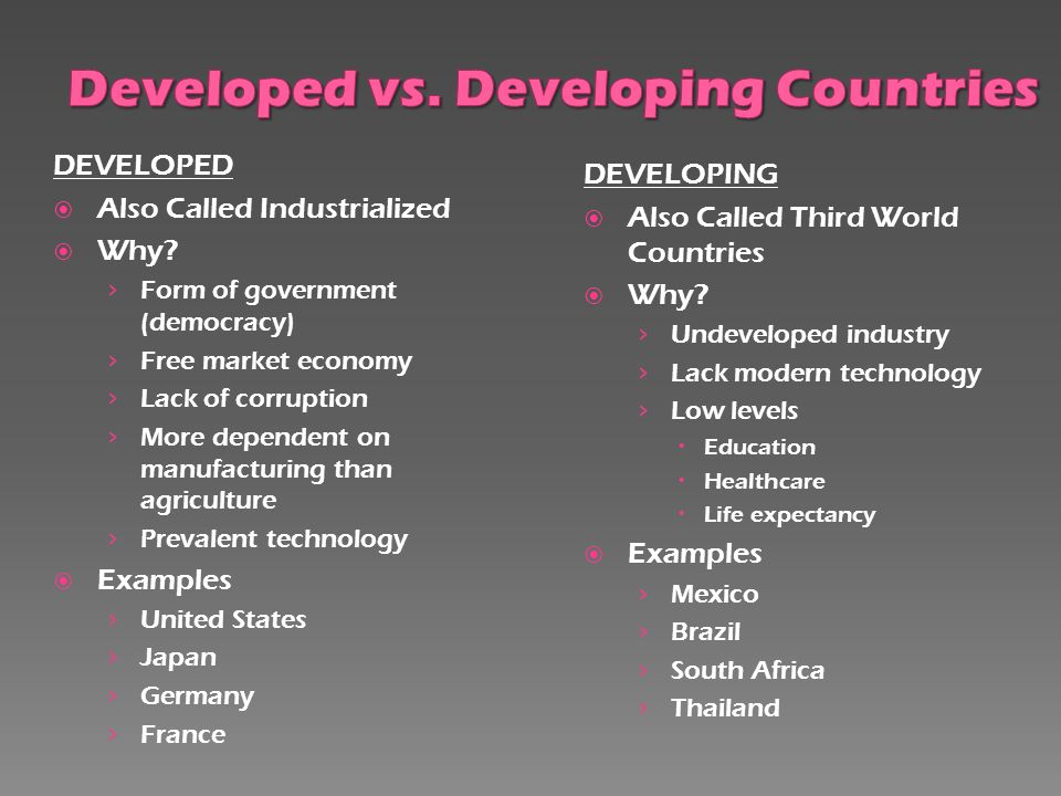 influence of developed countries on developing countries Does free trade lead to exploitation of developing countries  as a result of the influence and injection of  developing countries many developed nations,.