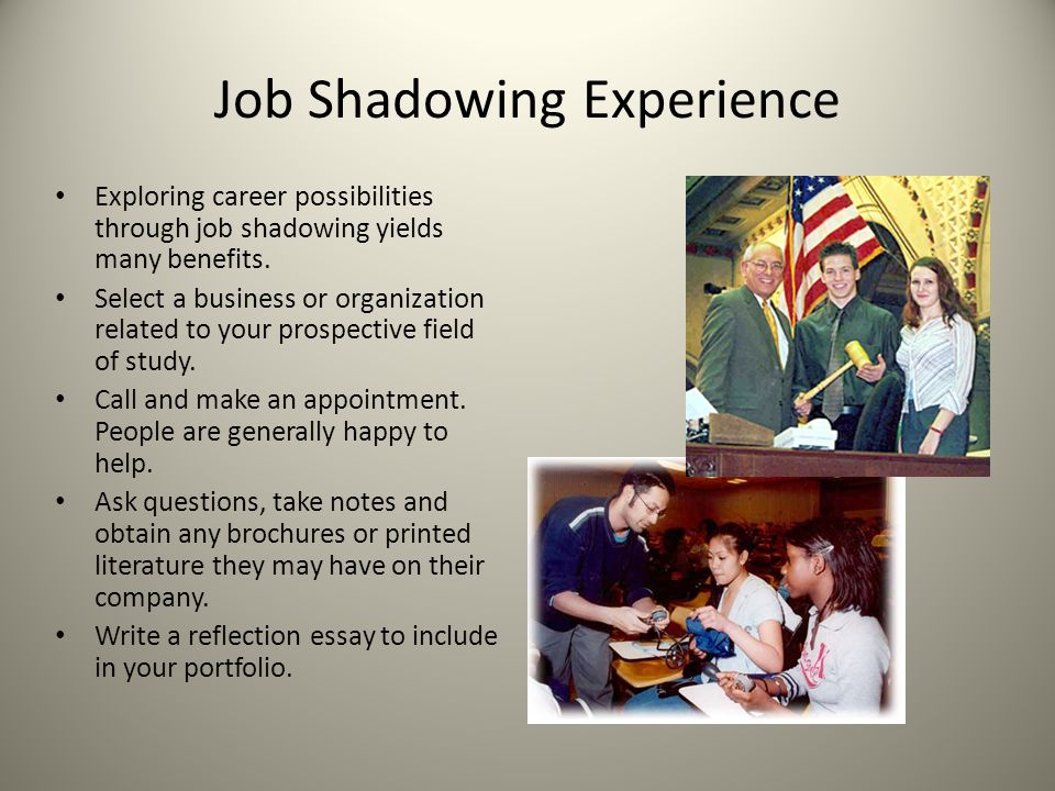 job shadowing project Job shadow experiences can also be part of a student's culminating project  students must complete approved paperwork prior to the culminating project job .