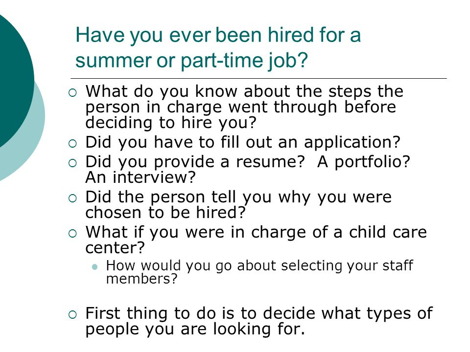 summer or part time jobs