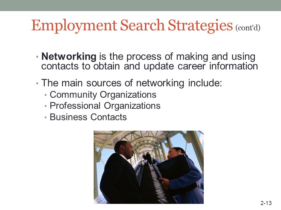 Employment Search Strategies (cont'd)