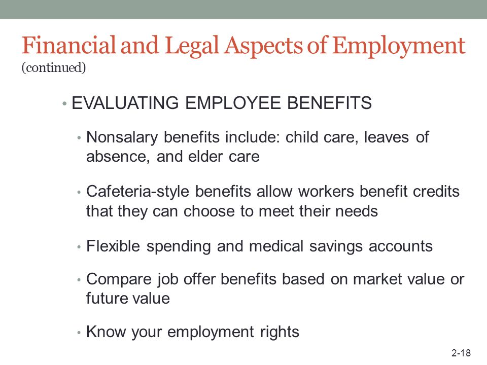 Financial and Legal Aspects of Employment (continued)
