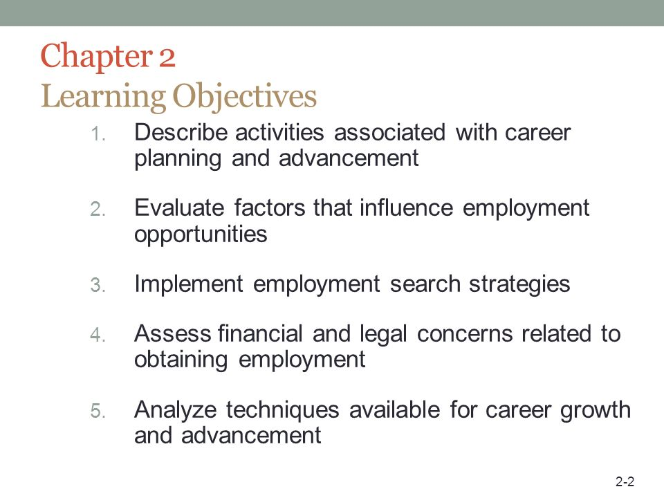 Chapter 2 Learning Objectives