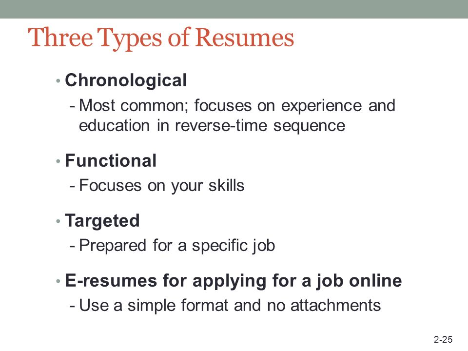 Three Types of Resumes Chronological Functional Targeted