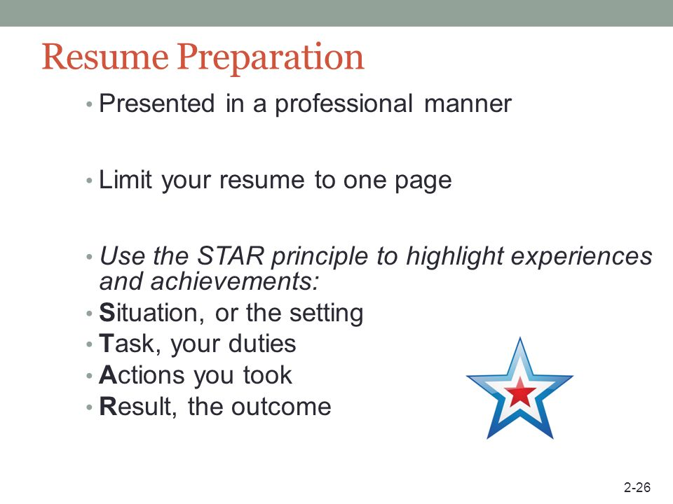 Resume Preparation Presented in a professional manner