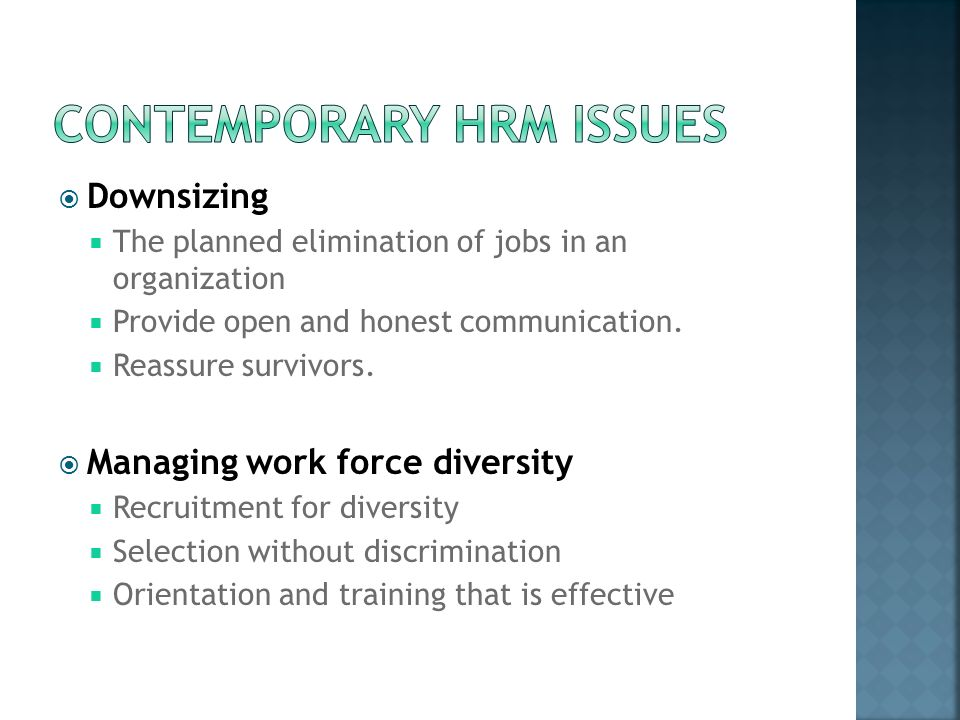 contemporry issues in hrm Get an answer for 'discuss any contemporary issues in human resources management it must be adequately referenced according to american psychological.