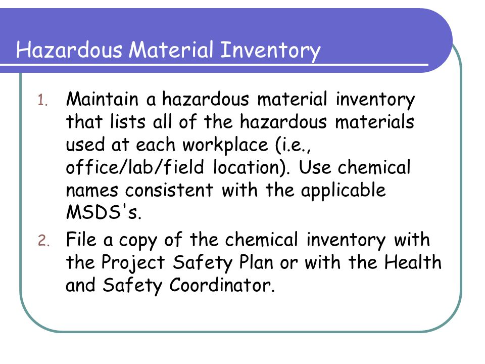 hazardous material inventory sheet
