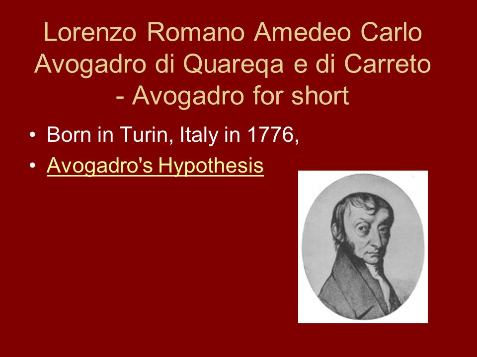 A short biography of amadeo avogadro