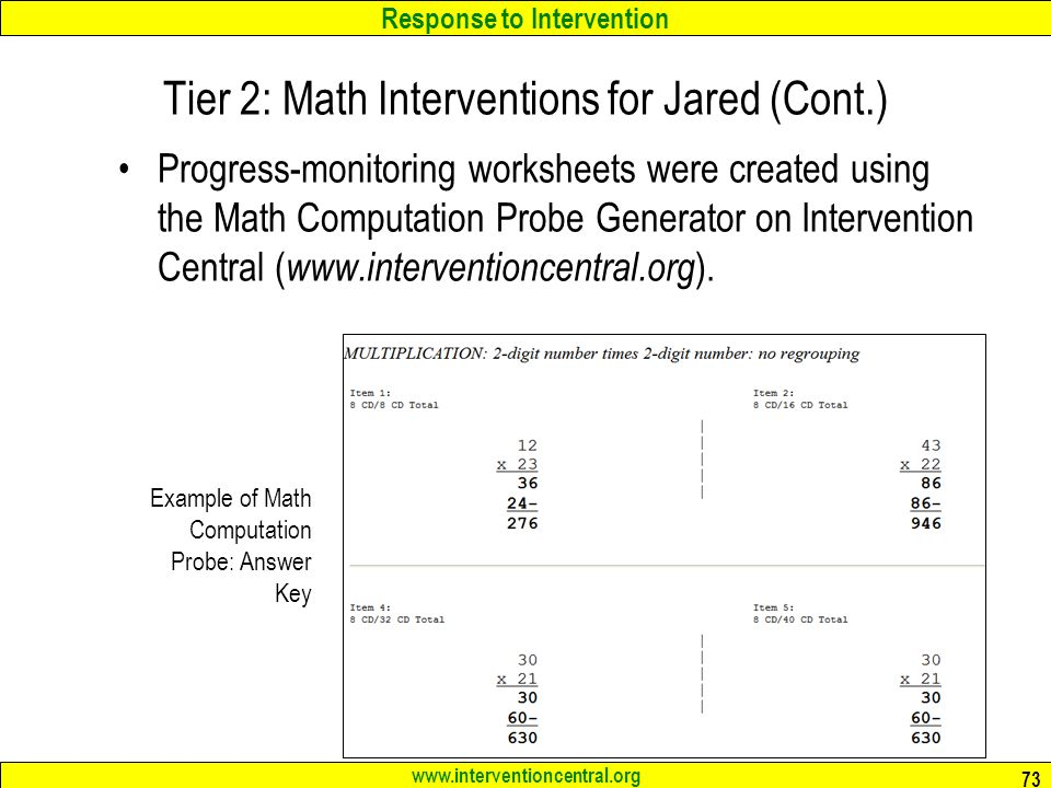 RTI Teams Best Practices in Elementary Mathematics Interventions – Intervention Central Math Worksheet Generator