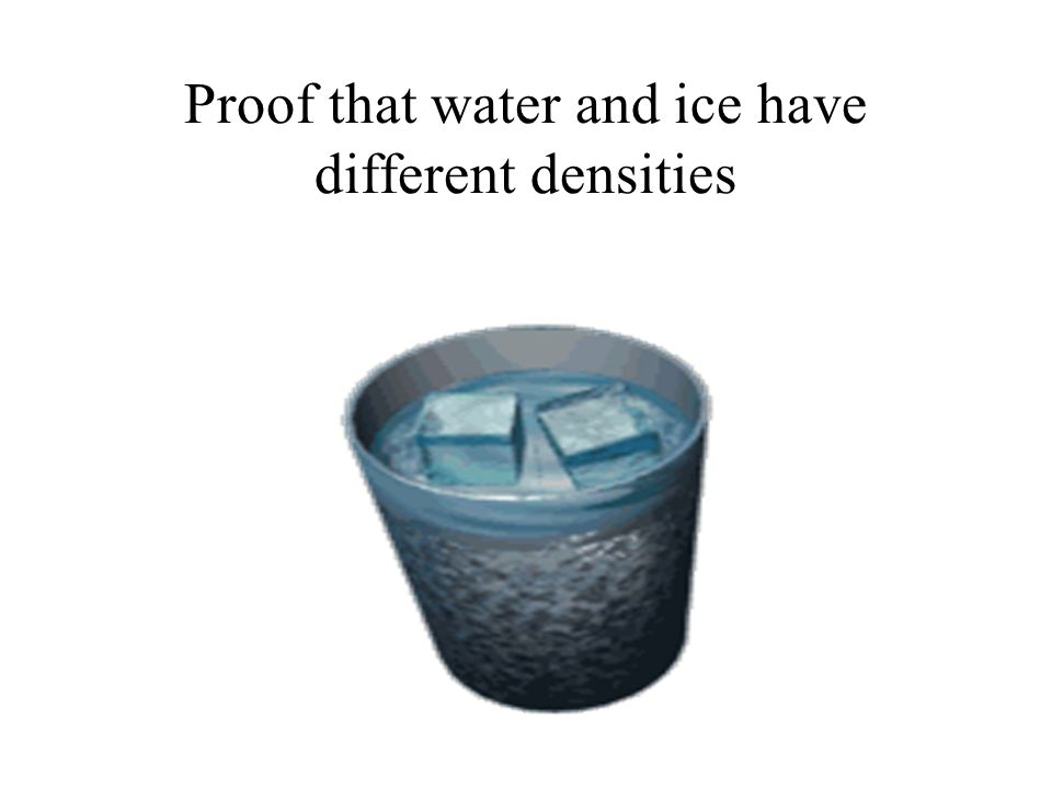 Proof that water and ice have different densities