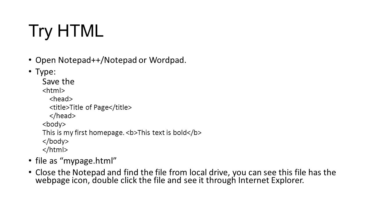 how to open a document on notepad in html