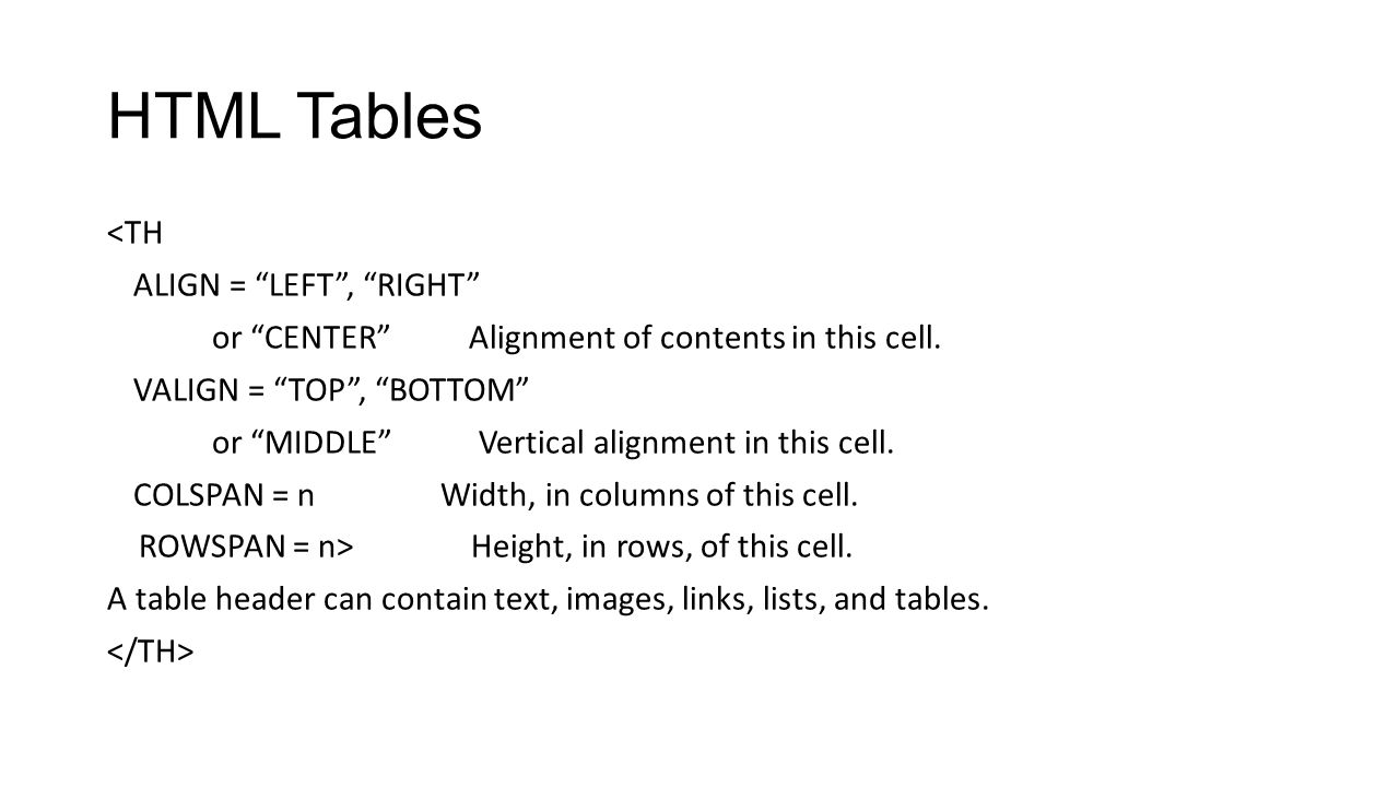 Cs105 introduction to computer concepts html ppt video for Table th text align