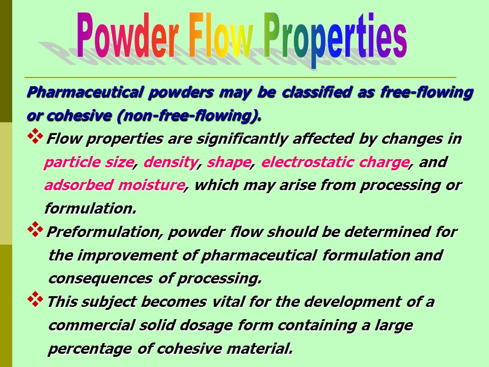 flow properties of pharmaceutical powders pdf