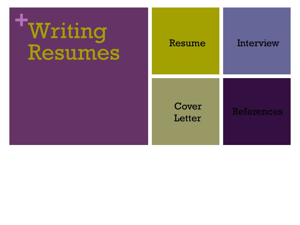 1 Writing Resumes Resume Interview Cover Letter References