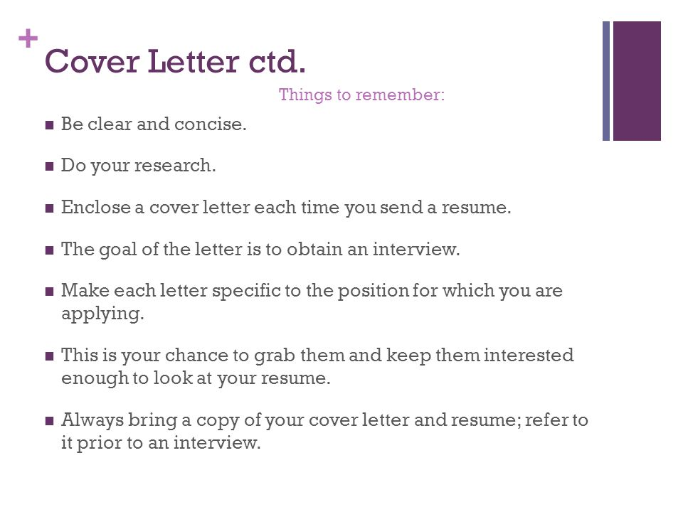 cover letter ctd be clear and concise do your research