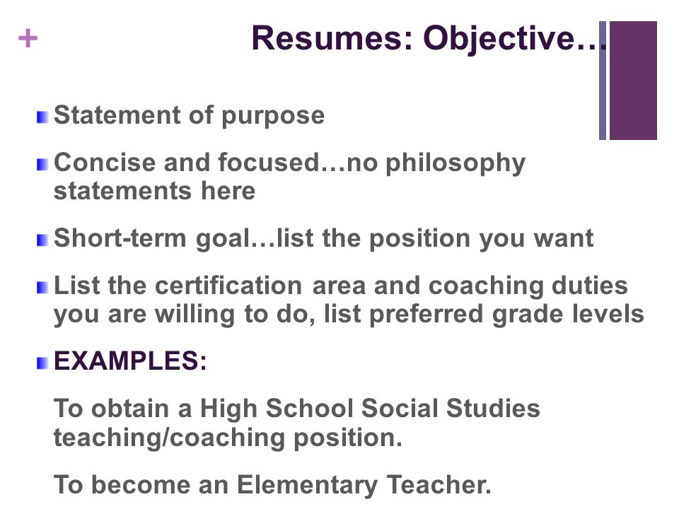 Elementary Resume Objectives Vosvetenet – Teacher Objectives Resume
