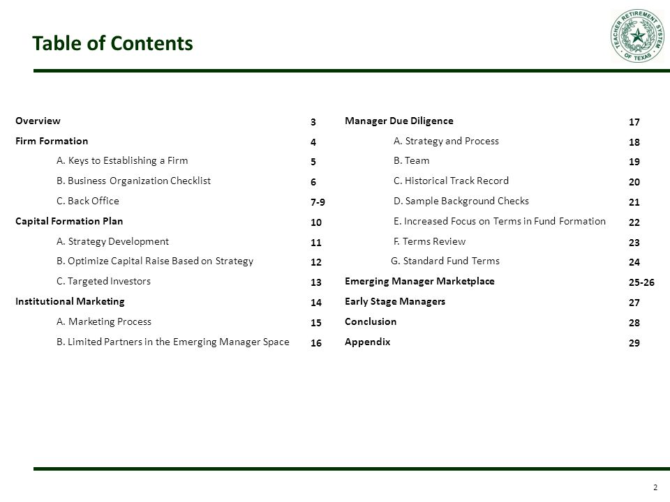 Establishing an emerging manager fund ppt download - Marketing plan table of contents ...