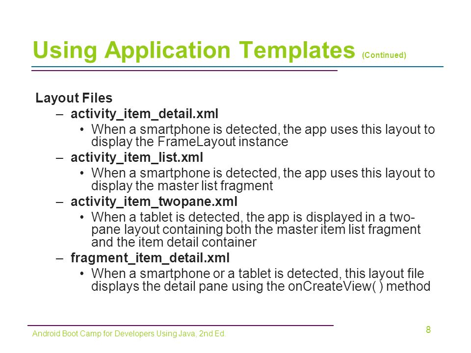 Android boot camp for developers using java comprehensive for Using templates in java
