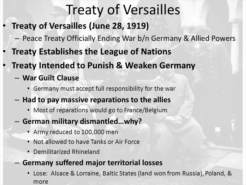 Why did the Treaty of Versailles have a negative economic effect on Germany?