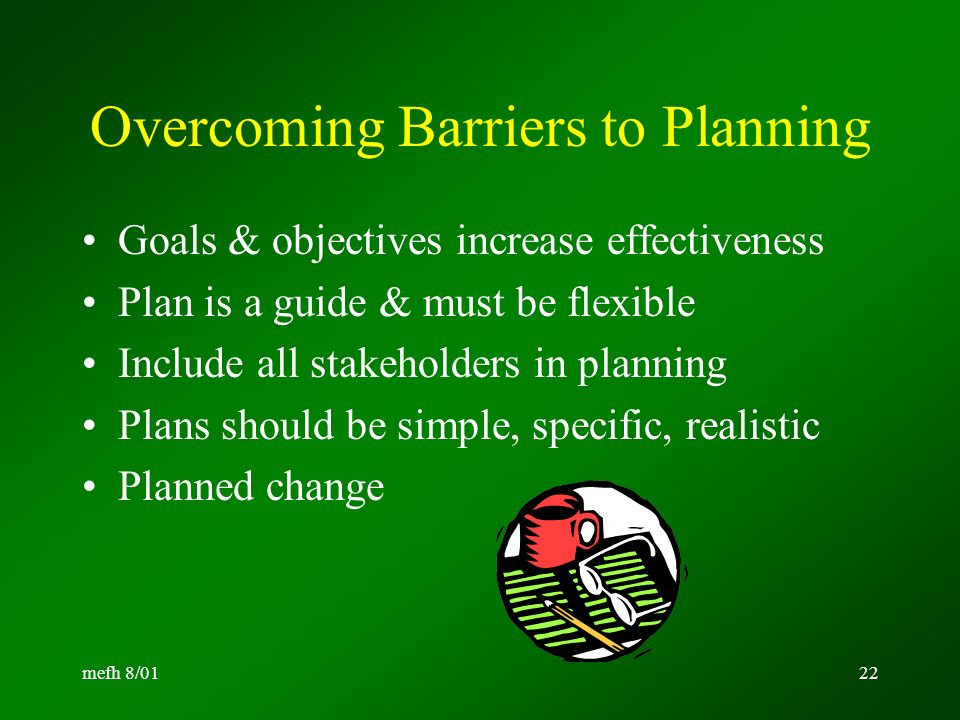 barriers effective planning Structured tools are only likely to be partially effective and the creation of a  specialist cadre of acp facilitators is unlikely to be a sustainable.