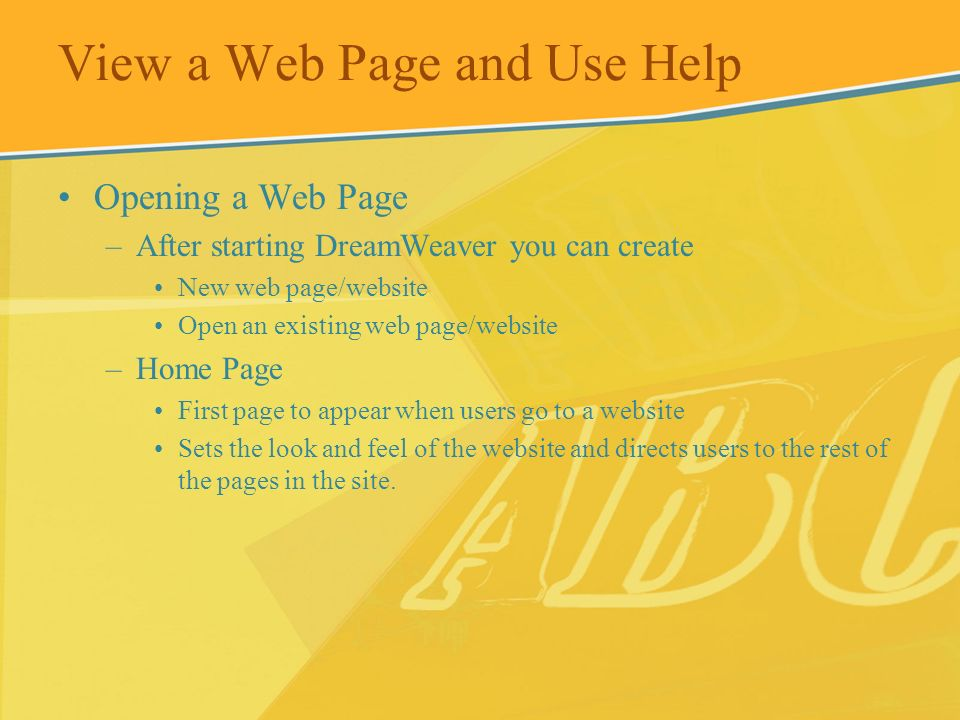 View a Web Page and Use Help