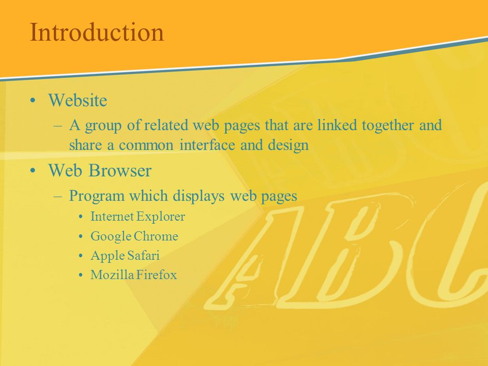 Introduction Website Web Browser