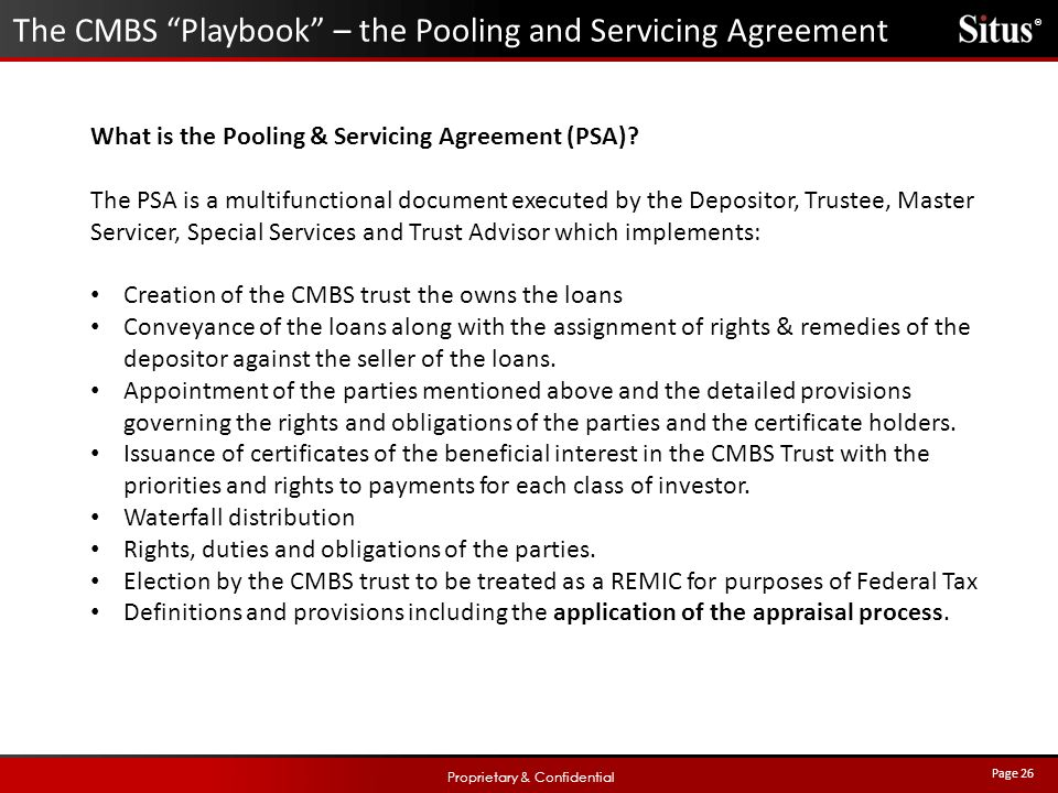 Appraisers guide to cmbs and the debt capital markets ppt video the cmbs playbook the pooling and servicing agreement platinumwayz