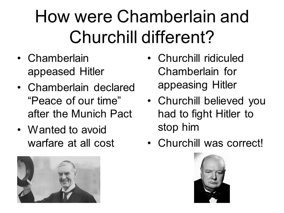 How were Chamberlain and Churchill different