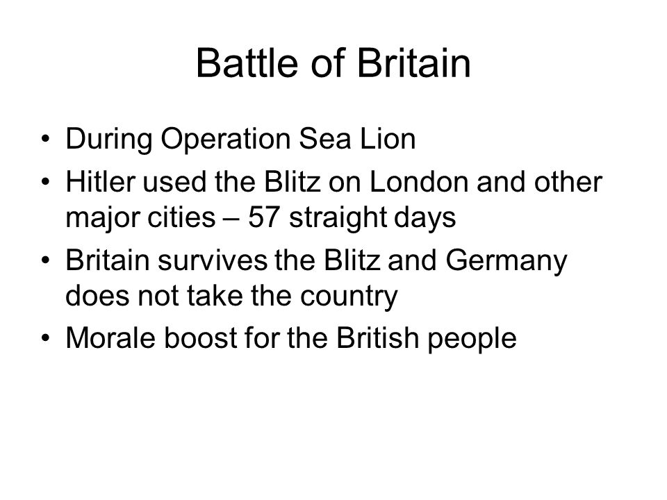 Battle of Britain During Operation Sea Lion