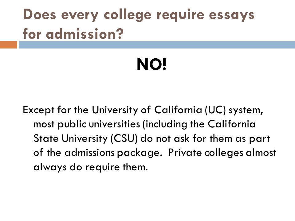 Colleges and Universities that Don't Require an Admission Essay to Apply