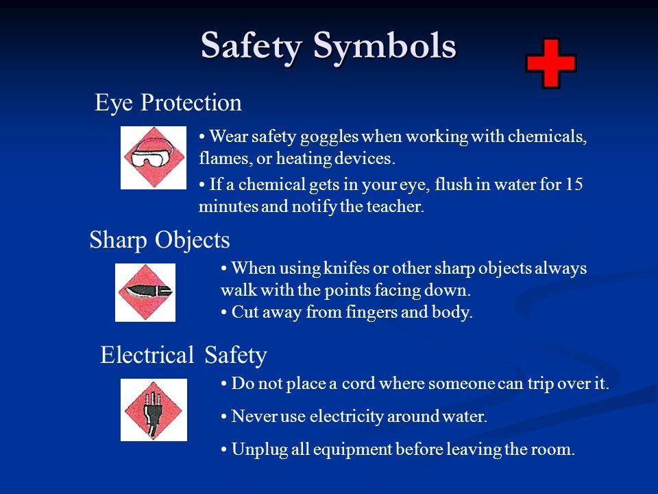 Safety Symbols Eye Protection Sharp Objects Electrical Safety
