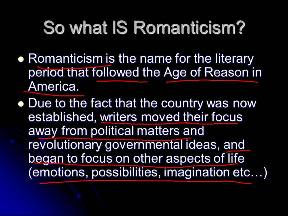 romanticism in american lit essay Elements of american romanticism henry david thoreau pens his book walden during a revolutionary period of time known as american romanticism the literary movement of american romanticism began roughly between the years of 1830 and 1860.