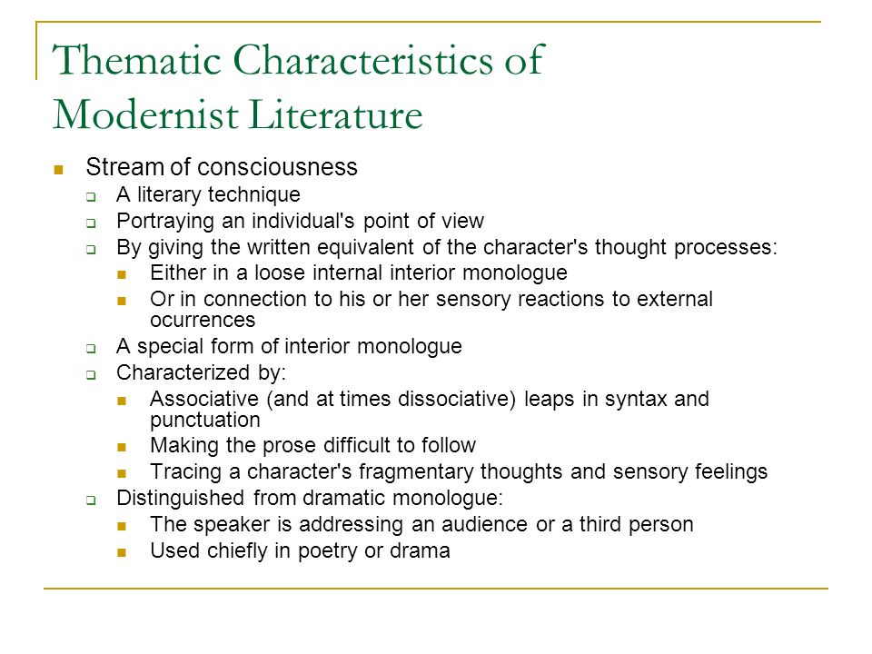 modernism modernist literature ppt video online  thematic characteristics of modernist literature