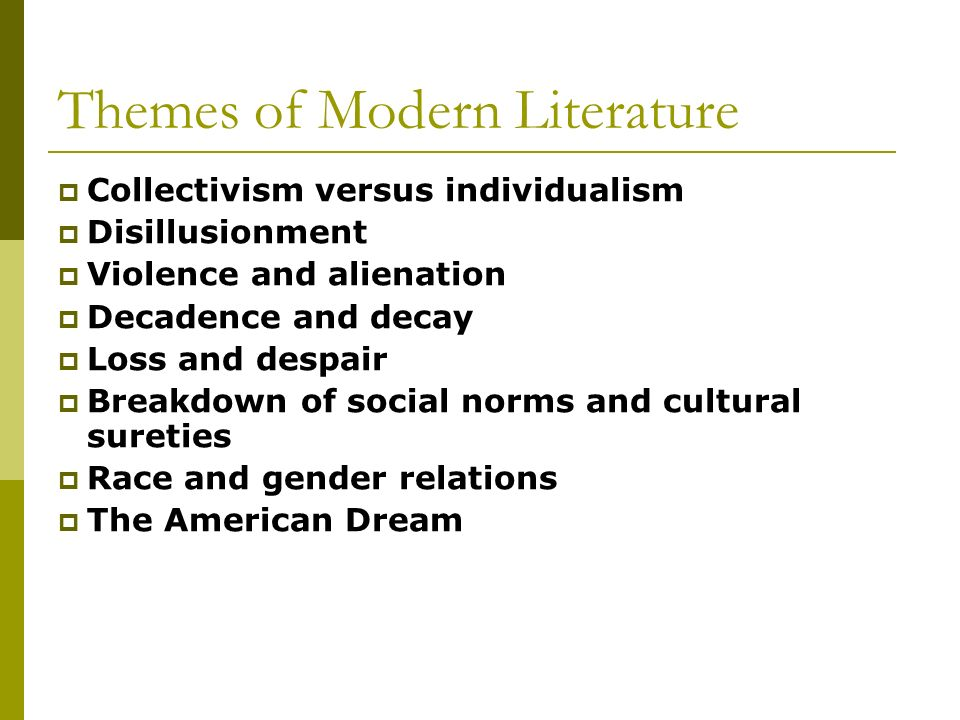 modernist themes in literature