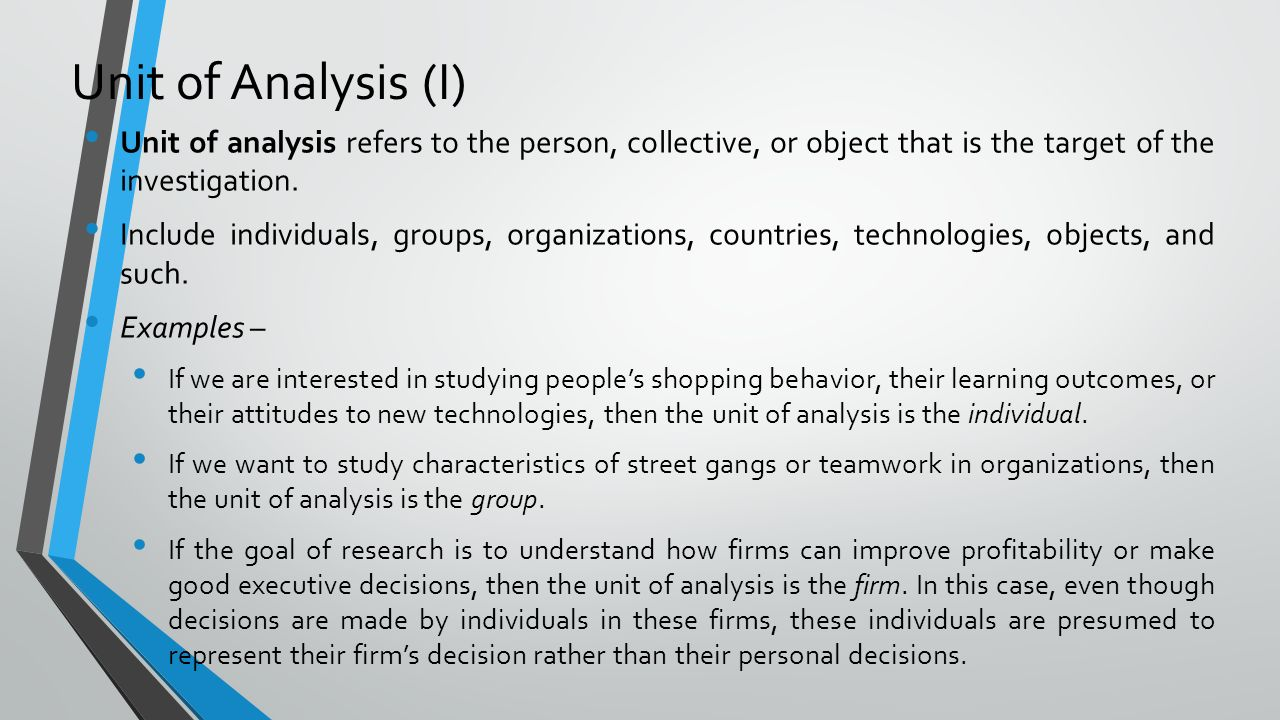 qualitative case study unit of analysis The one primary advantage to using the case study method in qualitative methodologies, such as case study during data analysis (identifying meaning units.