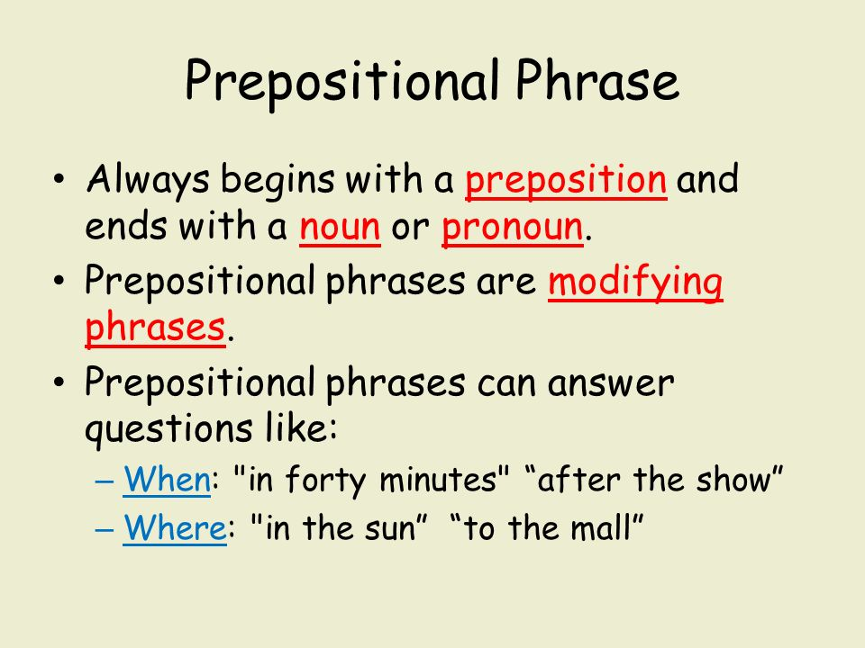 Prepositional Phrases ppt download – Prepositional Phrase Worksheet with Answers