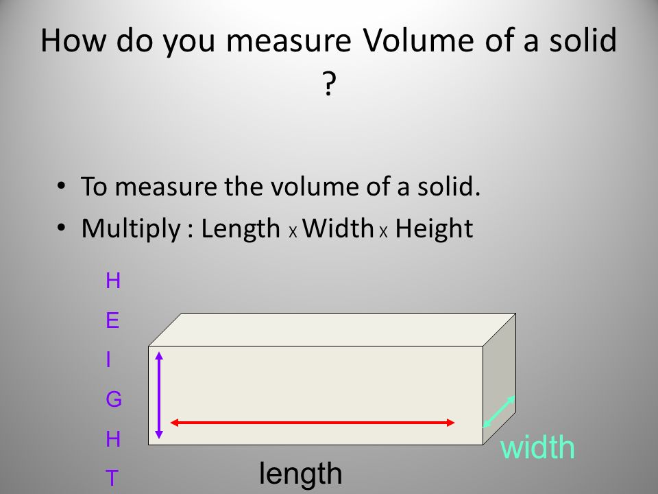How do you measure Volume of a solid