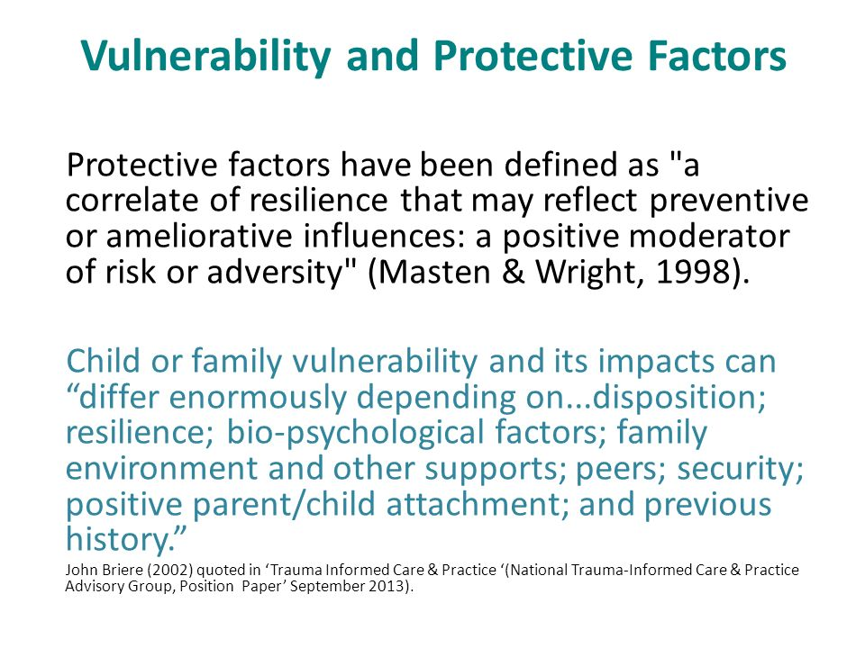 resilience and vulnerability among children essay Family resilience and good child outcomes: while early studies of resilience among children tended to another concept used by some researchers is vulnerability.