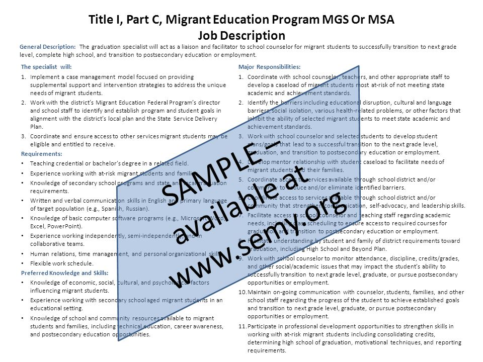 Migrant Graduation Specialist And Student Advocate Overview - Ppt