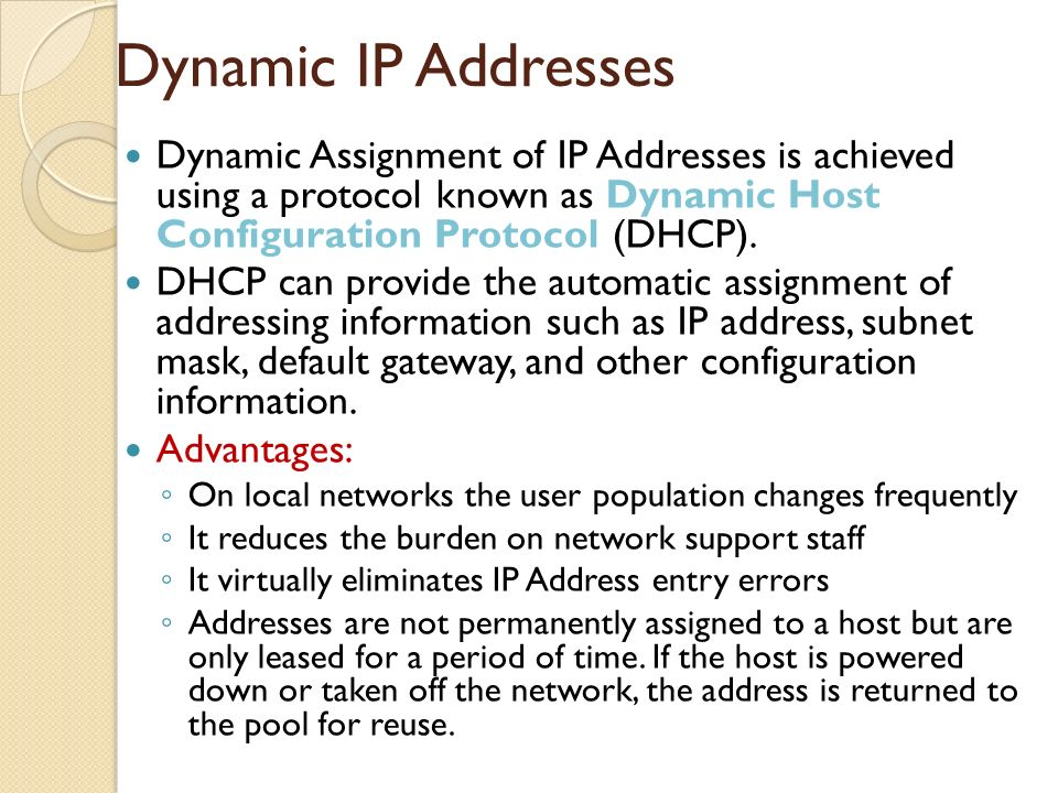 dynamically assigned ip address