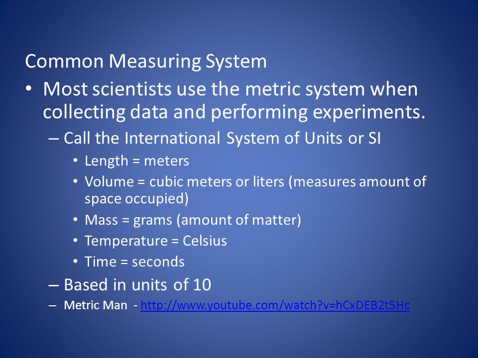 Common Measuring System