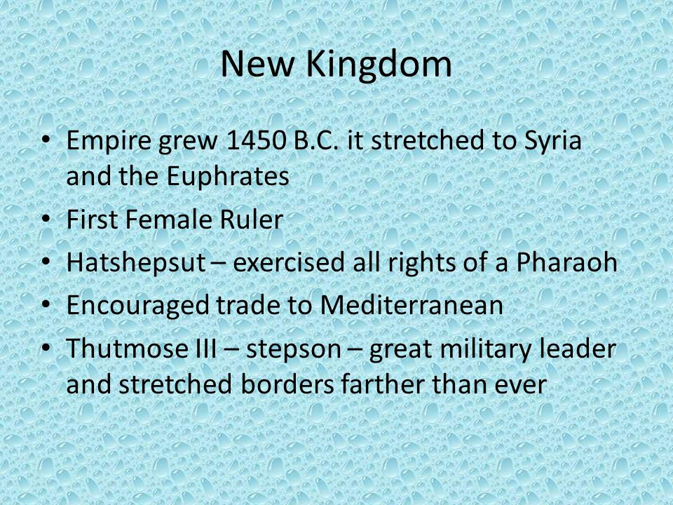 New Kingdom Empire grew 1450 B.C. it stretched to Syria and the Euphrates. First Female Ruler. Hatshepsut – exercised all rights of a Pharaoh.