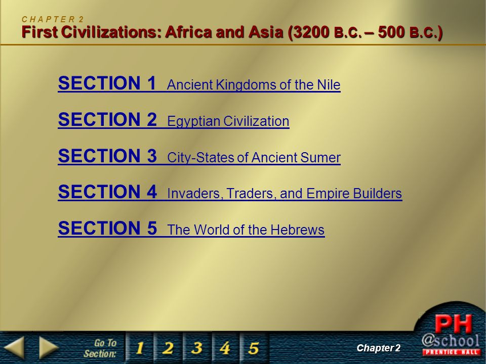 SECTION 1 Ancient Kingdoms of the Nile SECTION 2 Egyptian Civilization