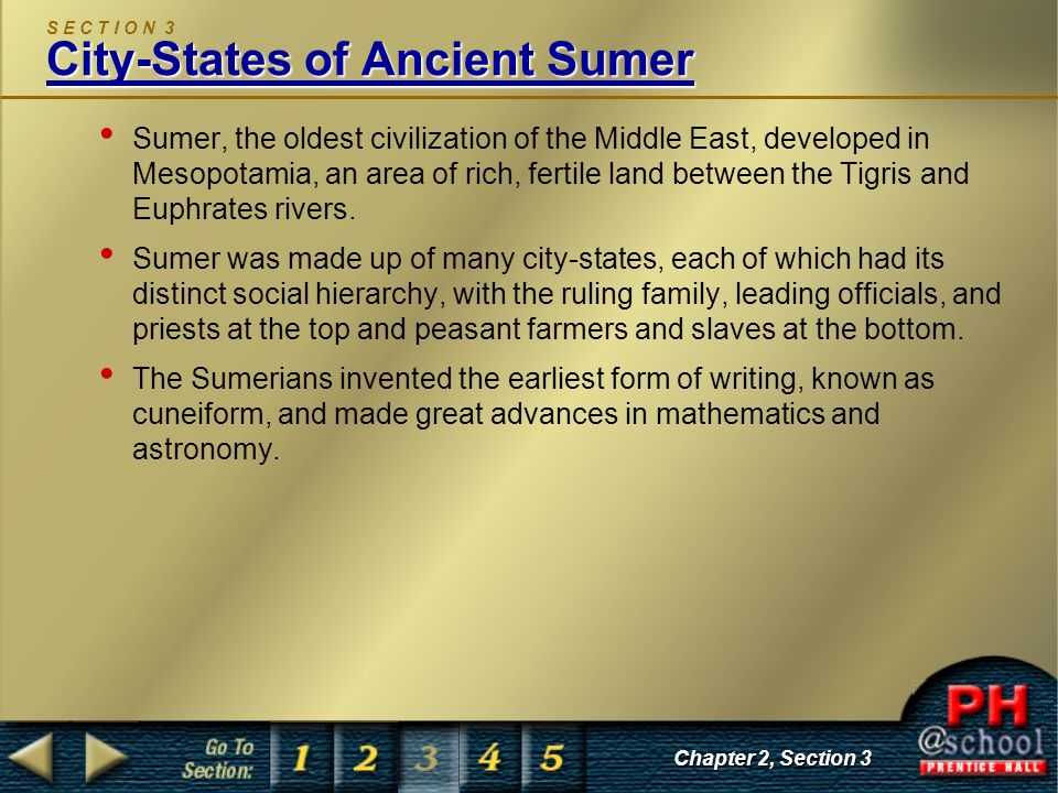 S E C T I O N 3 City-States of Ancient Sumer