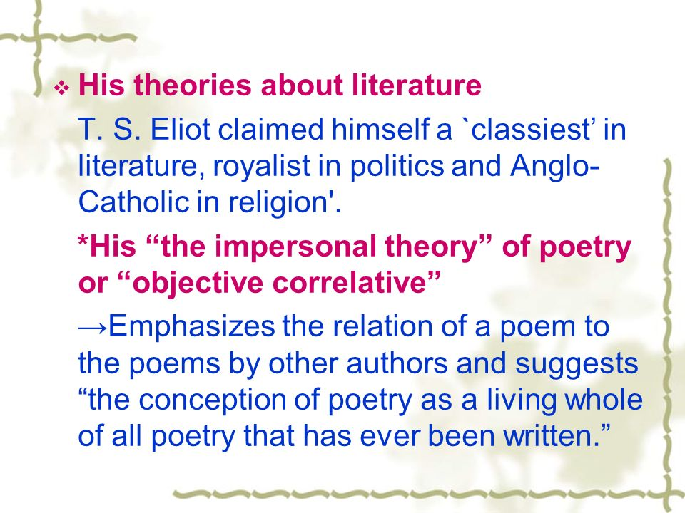 impersonality of poetry