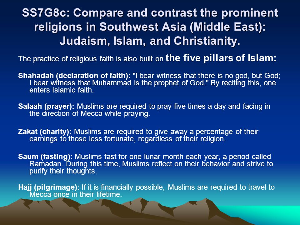 contrast christianity and islam Though both christianity and islam are abrahamic religions that are mostly or strictly monotheistic, they differ in many ways, and with well over a billion followers within each faith, even adherents' specific beliefs vary considerably by region and sect/denomination.