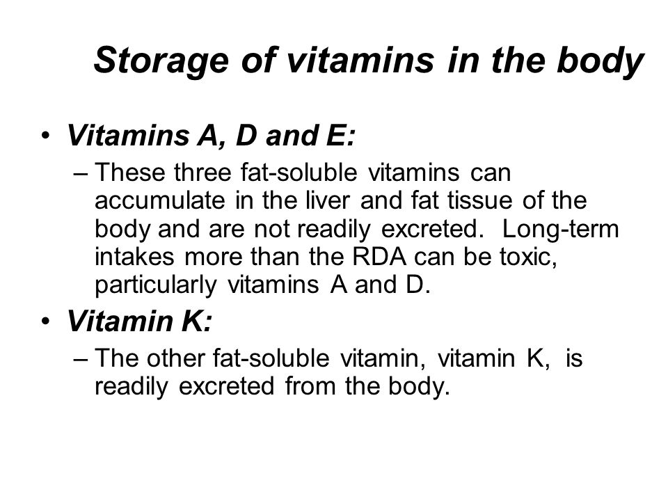 The Following Vitamins Are Stored In Fat 14