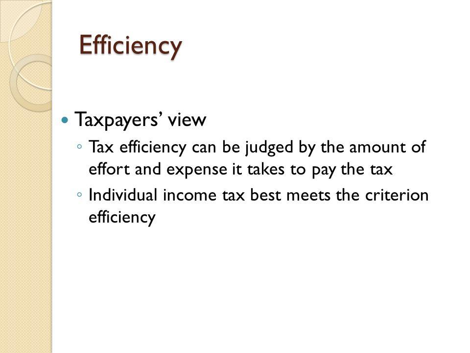 Efficiency Taxpayers' view